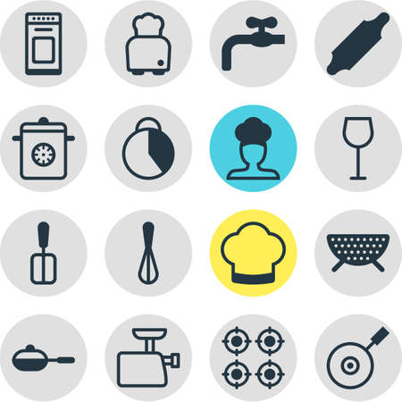 illustration of 16 cooking icons. Editable set of meat grinder, toaster, spatula and other icon elements. Reklamní fotografie