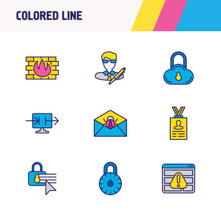 Vector illustration of 9 privacy icons colored line. Editable set of cloud data protection, data sharing, spam and other icon elements.