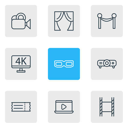 illustration of 9 movie icons line style. Editable set of 3d glasses, ticket, curtains and other icon elements.