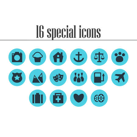 illustration of 16 location icons. Editable set of house, airplane, bakery and other icon elements.