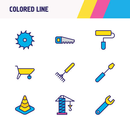 Vector illustration of 9 industry icons colored line. Editable set of cone, saw, carrier and other icon elements. Çizim
