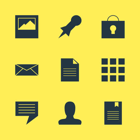 illustration of 9 web icons. Editable set of user, document, message and other icon elements.