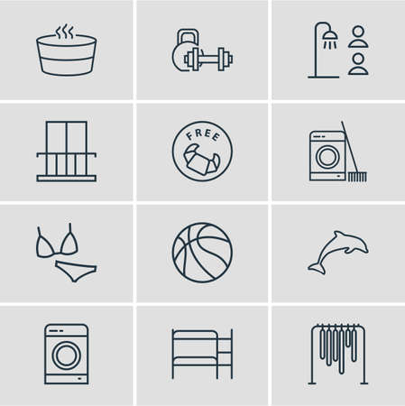 illustration of 12 tourism icons line style. Editable set of shared bathroom, double decker bed, exercise equipment and other icon elements. Stockfoto - 111259425