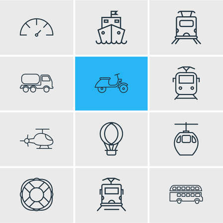 illustration of 12 transportation icons line style. Editable set of suburban train, subway train, double decker bus and other icon elements.