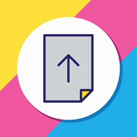 Vector illustration of upload icon colored line. Beautiful page element also can be used as sending icon element.