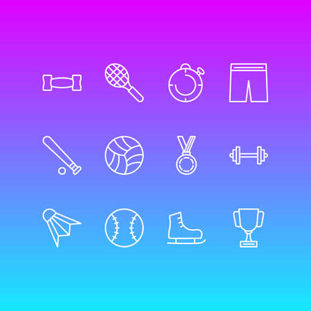 Vector illustration of 12 sport icons line style. Editable set of award, game, skates and other icon elements. Illustration