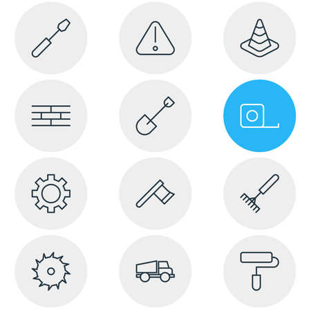 Vector illustration of 12 structure icons line style. Editable set of gear, shovel, saw and other icon elements.