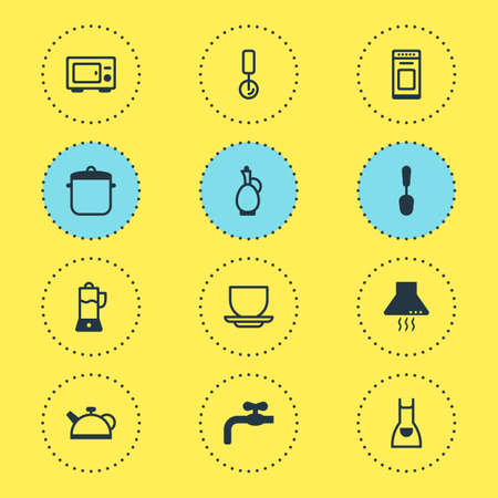 Vector illustration of 12 cooking icons. Editable set of apron, microwave, waterworks and other icon elements. Standard-Bild - 111260051
