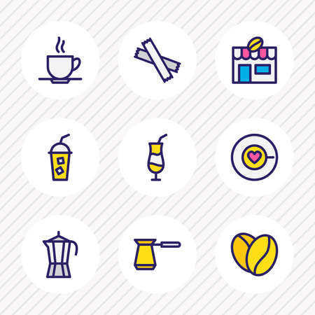 illustration of 9 drink icons colored line. Editable set of cold coffee, coffee house, percolator and other icon elements.