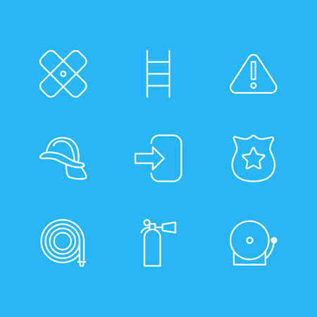 Vector illustration of 9 emergency icons line style. Editable set of plaster, alarm, exit and other icon elements.