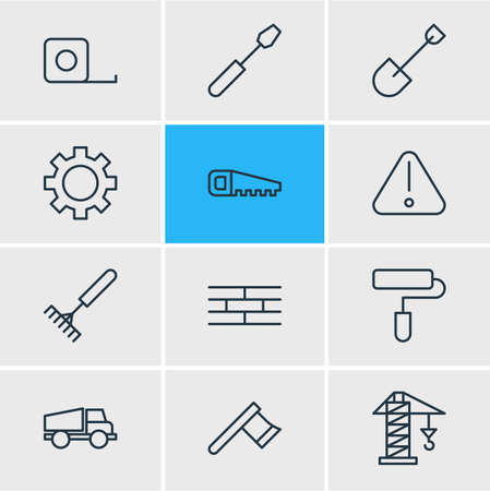 Vector illustration of 12 structure icons line style. Editable set of shovel, crane, axe and other icon elements.