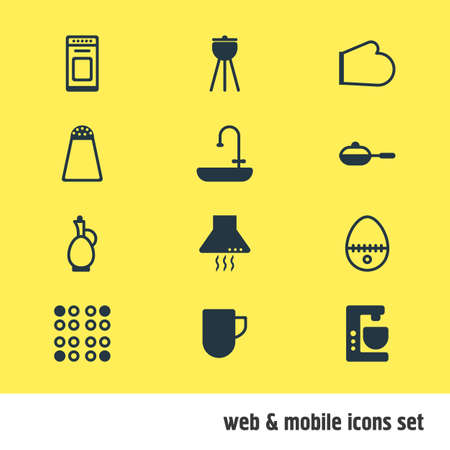 illustration of 12 restaurant icons. Editable set of kitchen hood, electric stove, skillet and other icon elements.