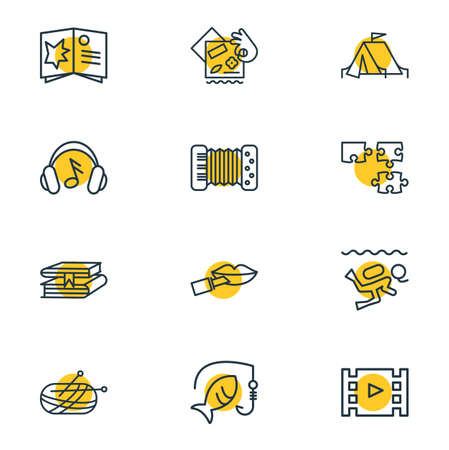 illustration of 12 activities icons line style. Editable set of puzzle, knitting, fishing and other icon elements.