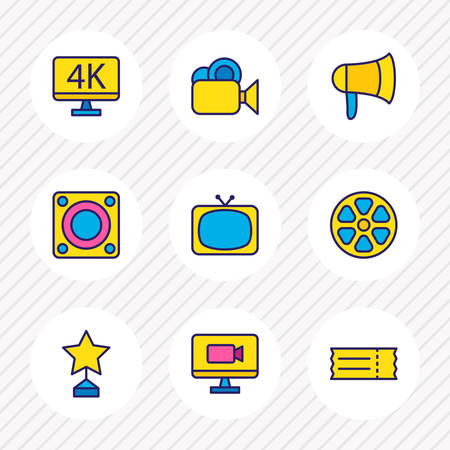 Vector illustration of 9 cinema icons colored line. Editable set of loudspeaker, movie reel, video camera and other icon elements. Illustration