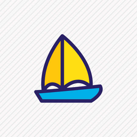 Vector illustration of boat icon colored line. Beautiful leisure element also can be used as ship icon element. Illustration