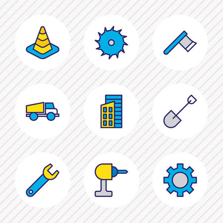 Vector illustration of 9 structure icons colored line. Editable set of shovel, axe, saw and other icon elements. Illustration