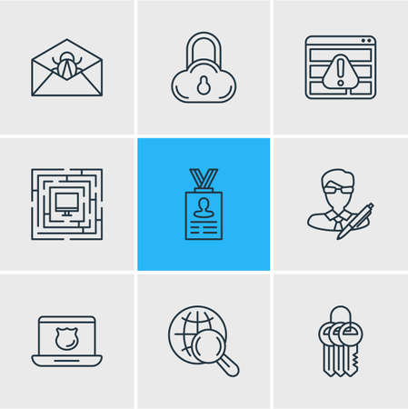 Vector illustration of 9 security icons line style. Editable set of spam, protected computer, cloud data protection and other icon elements.