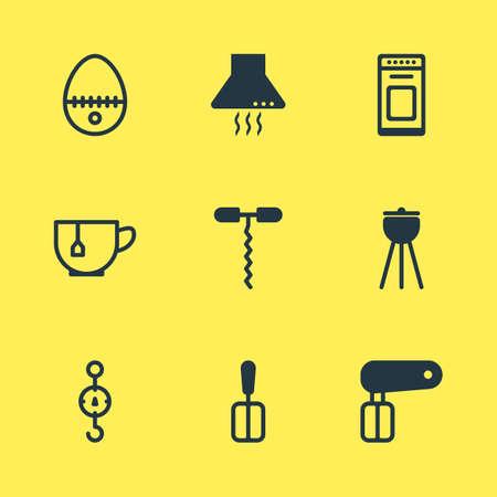 illustration of 9 kitchenware icons. Editable set of egg split, spatula, corkscrew and other icon elements.