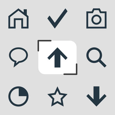 illustration of 9 member icons. Editable set of star, timer, down and other icon elements. Stock Photo