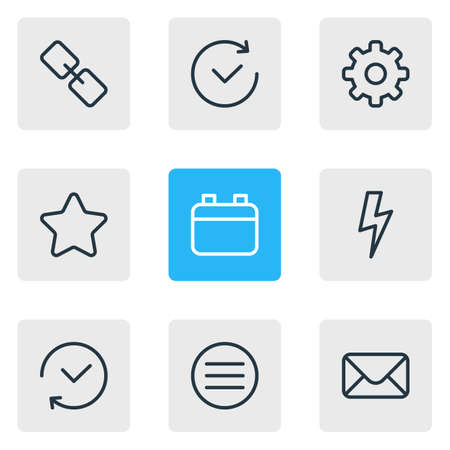 illustration of 9 app icons line style. Editable set of cog, future, bolt and other icon elements.
