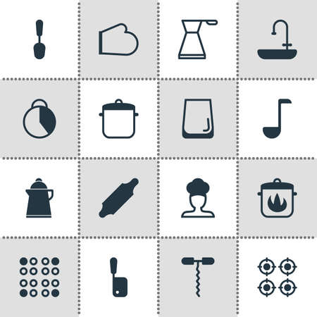illustration of 16 restaurant icons. Editable set of saucepan, hot pan, kitchen glove and other icon elements.