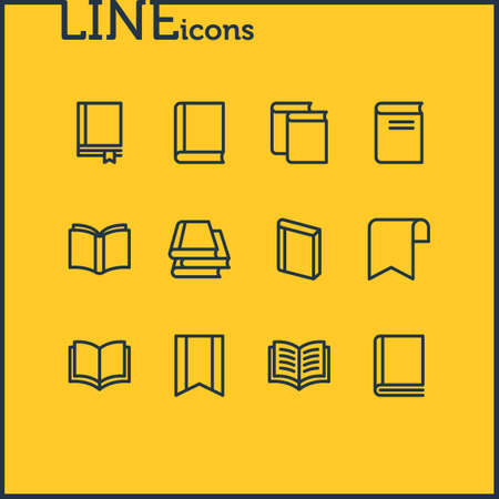 Vector illustration of 12 book icons line style. Editable set of book collection, copybook, study and other icon elements. 向量圖像