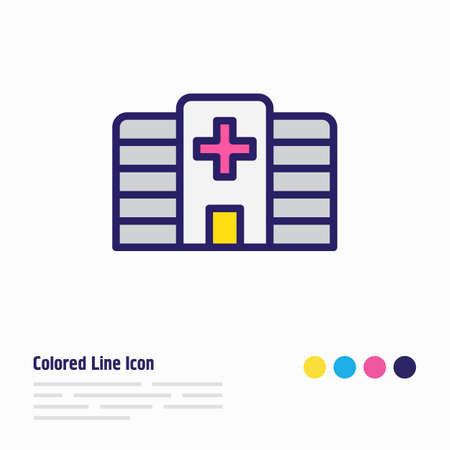 illustration of hospital icon colored line. Beautiful city element also can be used as clinic icon element. Stock Photo