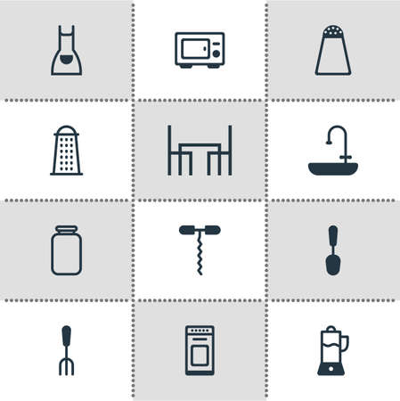 illustration of 12 cooking icons. Editable set of juicer, salt cellar, spoon and other icon elements.