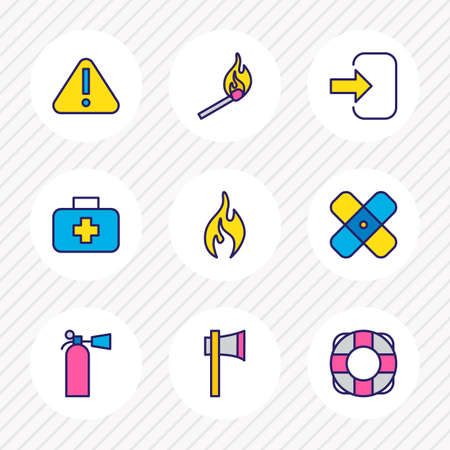 illustration of 9 necessity icons colored line. Editable set of match, attention, fire and other icon elements. 写真素材
