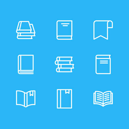 illustration of 9 read icons line style. Editable set of notepad, novel, copybook and other icon elements.