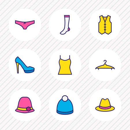 illustration of 9 dress icons colored line. Editable set of vest, underwear, women hat and other icon elements.