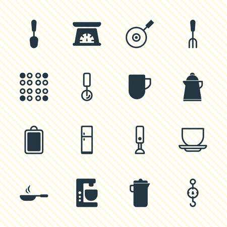 illustration of 16 restaurant icons. Editable set of mug, skillet, scales and other icon elements.