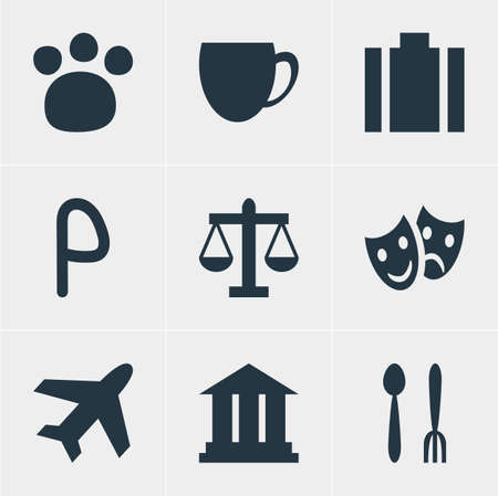 illustration of 9 map icons. Editable set of academy, airplane, portfolio and other icon elements.