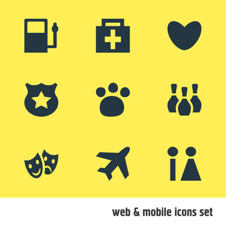 illustration of 9 map icons. Editable set of pharmacy, police, bowling pins and other icon elements.