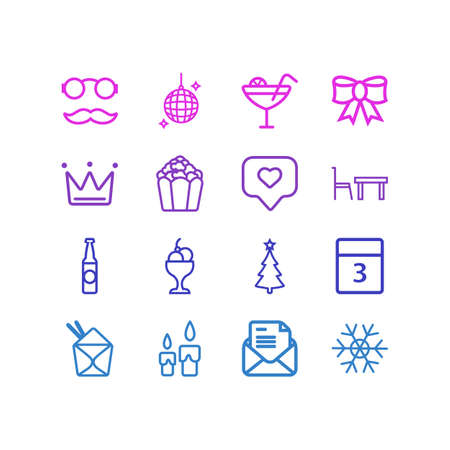 Vector illustration of 16 party icons line style. Editable set of festive bow, disco ball, ice cream bowl and other icon elements.