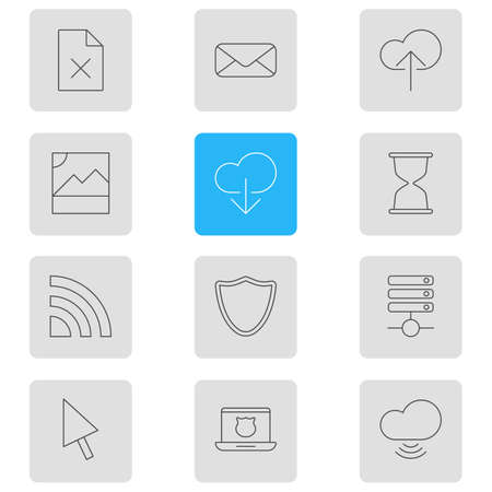Vector illustration of 12 network icons line style. Editable set of remove file, wifi, database and other icon elements.