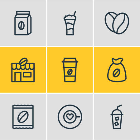 illustration of 9 coffee icons line style. Editable set of latte, arabica bean, sack and other icon elements. Banco de Imagens