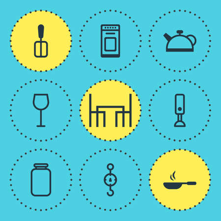 illustration of 9 kitchenware icons. Editable set of skillet, dining table, wineglass and other icon elements.