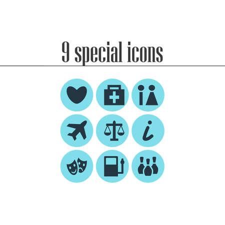 illustration of 9 check-in icons. Editable set of law, theatre, love and other icon elements.