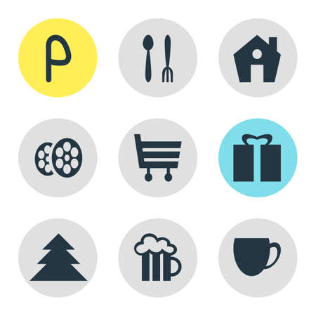 illustration of 9 travel icons. Editable set of house, restaurant, parking sign and other icon elements. 版權商用圖片