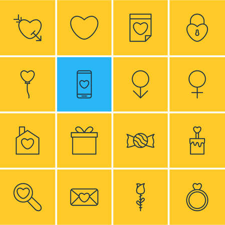 illustration of 16 passion icons line style. Editable set of mail, locker, house and other icon elements. 免版税图像