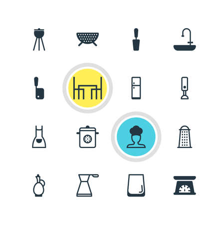 illustration of 16 restaurant icons. Editable set of grater, apron, pot and other icon elements.