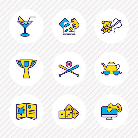 Vector illustration of 9 entertainment icons colored line. Editable set of making toys, domino, baseball and other icon elements.