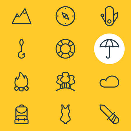 illustration of 12 camping icons line style. Editable set of fishing, forest, blade and other icon elements.