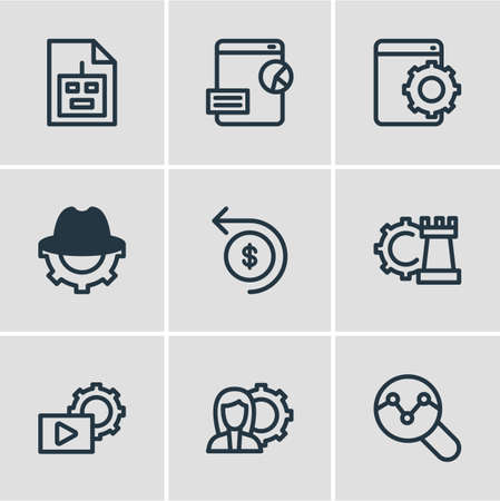 Vector illustration of 9 advertisement icons line style. Editable set of video marketing, return of investment, SEO blackhat and other icon elements.