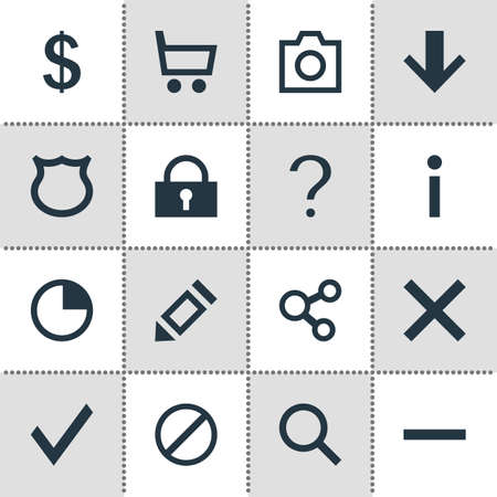 Vector illustration of 16 interface icons. Editable set of blocked, trading cart, approve and other icon elements. Illusztráció