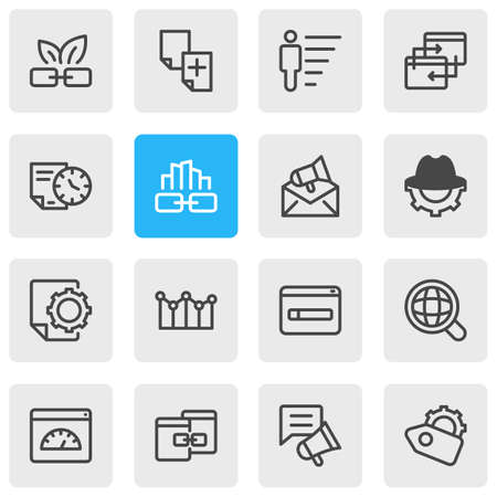 Vector illustration of 16 advertisement icons line style. Editable set of duplicate content, related content, SEO tag and other icon elements.