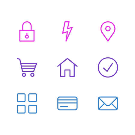 Vector illustration of 9 annex icons line style. Editable set of location, credit card, mail and other icon elements. 向量圖像