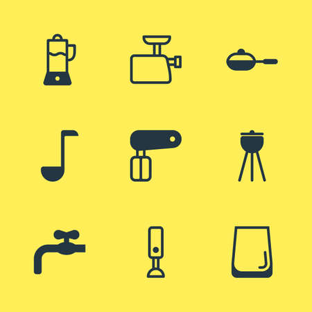illustration of 9 cooking icons. Editable set of hand mixer, waterworks, blender icon elements.