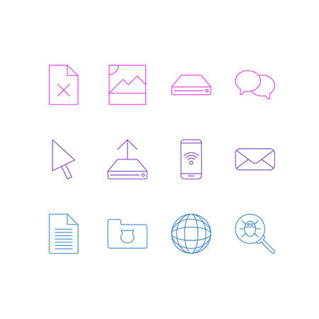 Vector illustration of 12 internet icons line style. Editable set of remove file, hard drive backup, chat and other icon elements. Archivio Fotografico - 127692099